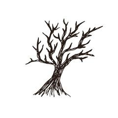 Tree Vector silhouette. Hand drawn illustration. Halloween Sticker print design.