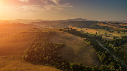 Toscana aerial view during summer with sunrise