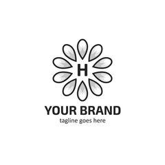 White flower petals logo icon with letter H