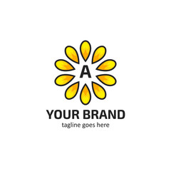 Yellow sunflower petals with letter A logo icon symbol vector