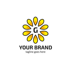 Yellow sunflower petals with letter G logo icon symbol vector