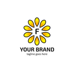 Yellow sunflower petals with letter F logo icon symbol vector