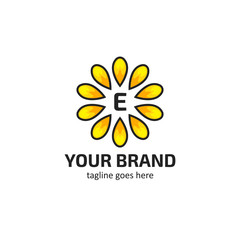 Yellow sunflower petals with letter E logo icon symbol vector