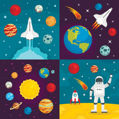 Space planets banner set. Flat illustration of space planets vector banner set for web design