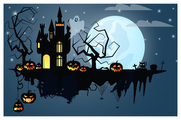 Part of ground with Halloween characters vector illustration. Pumpkins, ghost, black cat on full moon. Mystery concept