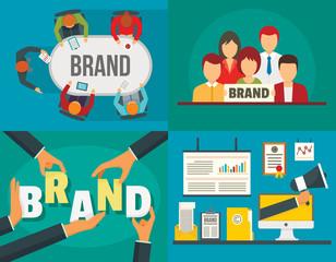 Brand identity banner set. Flat illustration of brand identity vector banner set for web design