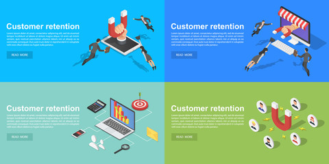 Customer retention banner set. Isometric set of customer retention vector banner for web design