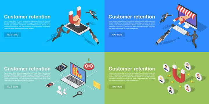 Customer retention banner set. Isometric set of customer retention vector banner for web design
