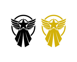 Star Medal with Wings for Champion in the Competition Sign Symbol Icon Logo Vector