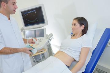 doing an ultrasound procedure