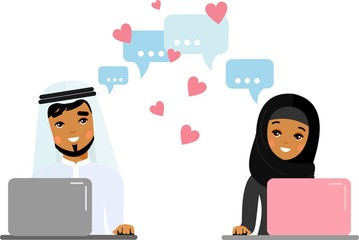 Cute cartoon illustration of arab people in love using computer and internet. Vector flat arabic lover concept on the computer screen sent a message of love.