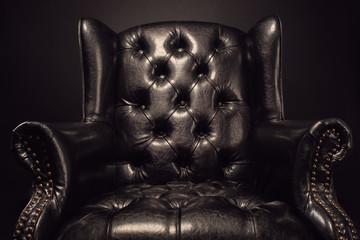 Fototapeta Black vintage leather armchair obraz
