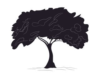 big tree drawing silhouette, vector