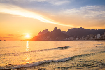Ipanema Beach and Two Brothers (Dois Irmaos) Mountain at sunset - Rio de Janeiro, Brazil Wall mural