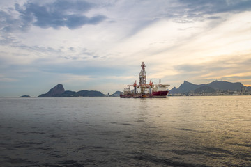 Drillship at Guanabara Bay with Sugar Loaf and Corcovado on background - Rio de Janeiro, Brazil