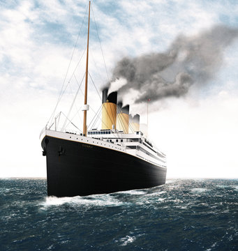 Illustration of the Titanic in the Sea during the Day