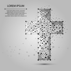 Abstract mash line and point Christian cross. Vector religion illustration. Polygonal low poly