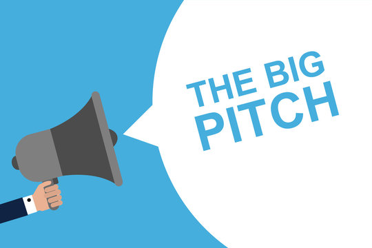 Hand Holding Megaphone With Speech Bubble THE BIG PITCH. Announcement. Vector illustration