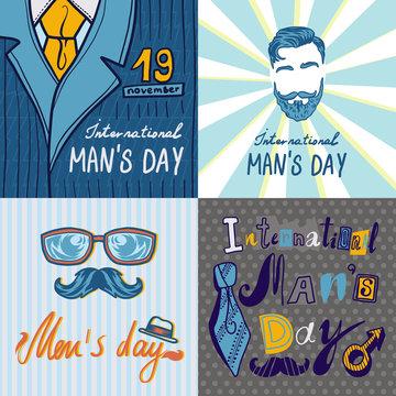 Mens day concept background. Hand drawn illustration of mens day vector concept background for web design