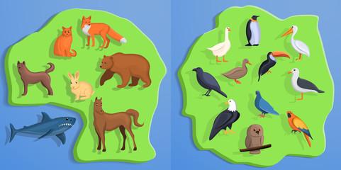 Animals banner set. Cartoon illustration of animals vector banner set for web design