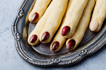 Cookies Witch's fingers for Halloween party celebration. Close up.