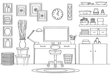 Sketch of home office room interior, Black and white
