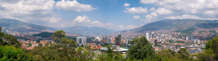 Cityscape and panorama view of Medellin, Colombia. Medellin is the second-largest city in Colombia. It is in the Aburrá Valley, one of the most northerly of the Andes in South America.