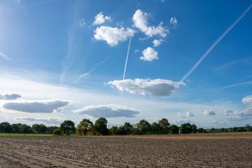 schöner blauer Wolkenhimmel mit Kondensstreifen. Standort: Deutschland, Nordrhein - Westfalen, Borken