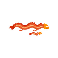 Adult dragon and small baby dragon, mother and her child, family of cute mythical animals cartoon characters vector Illustration on a white background