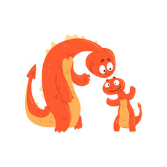 Loving mother dragon and her baby, cute funny family of mythical animals cartoon characters vector Illustration on a white background