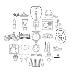 Yoga icons set. Outline set of 25 yoga vector icons for web isolated on white background