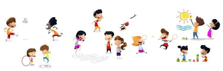 Children jumping, vector illustration