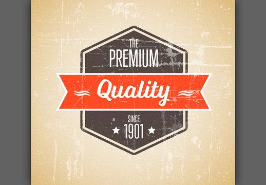 Retro Label/Badge with Orange Accents