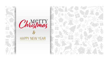 christmas card with calligraphic greeting text on a light grey background