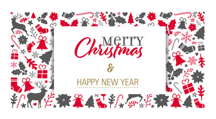 christmas card template with a red-grey background