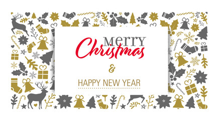 christmas card template with a golden-grey background