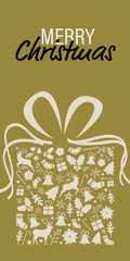 christmas greeting card on a golden background
