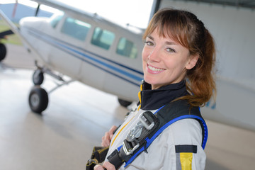 beautiful woman ready to skydiving