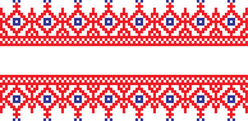 Embroidered pattern on transparent background Ukrainian national ornament
