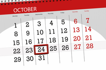 Calendar planner for the month, deadline day of the week 2018 october, 24, Wednesday