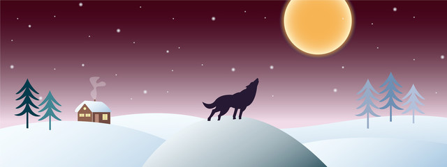 Winter landscape with a howling wolf