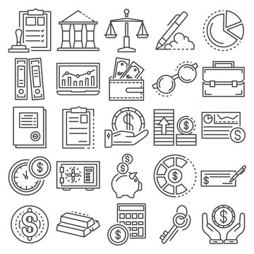 Accounting day icon set. Outline set of accounting day vector icons for web design isolated on white background