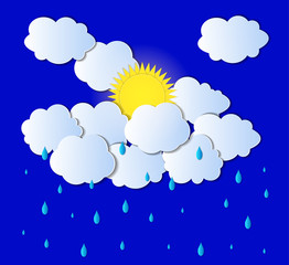 Vector Sun, Clouds and Rain Background, Light Gray Clouds and Drops, Paper Art.
