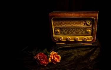 old radio with black background