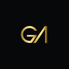 Abstract Minimal Initial Letters GA Logo Design in Black and Gold Color Using Letters G A