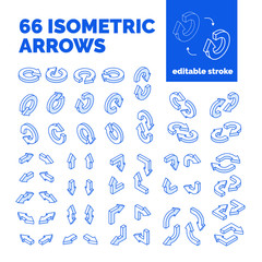 Editable stroke business isometric arrows set,isolated vector.Isometrics pointers,concept symbols icons for web graphic,information,charts,internet,finance diagrams,infographic,website,presentations