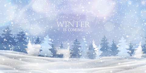 Winter is coming. Beautiful christmas, snowy woodland landscape with snow covered firs, coniferous forest, falling snow, snowflakes for winter and new year holidays. Christmas Winter background.