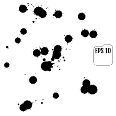 Set of black blots on the white background. Ink stains.