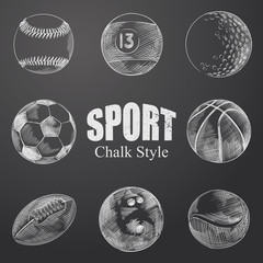 Hand Drawn Sport Balls Sketches Set. Collection Of  Balls And Other Sketch Elements isolated on chalkboard