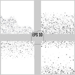 Set of Silver glitter stars falling from the sky on white backgrounds. Abstract Backgrounds. Glitter patterns for banner. Vector illustrations. 4 in 1